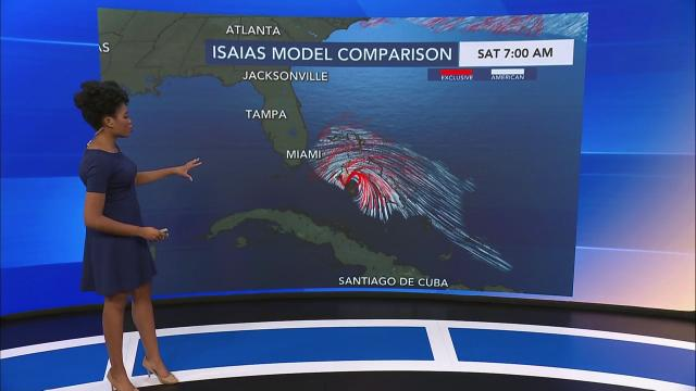 Hurricane Isaias is projected to landfall Tuesday morning in the Carolinas
