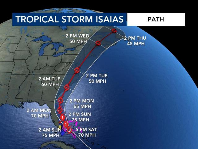 Isaias storm path as of 11 p.m. Saturday
