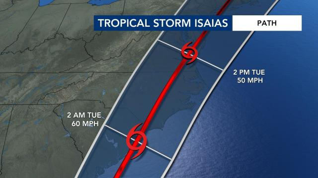 Tropical Storm Isaias storm path as of 5 p.m.