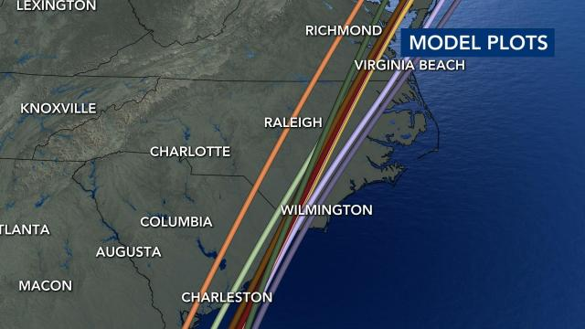 Tropical Storm Isaias model plots as of 5 p.m.