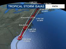 Tropical Storm Isaias path as of 6 p.m Aug. 3