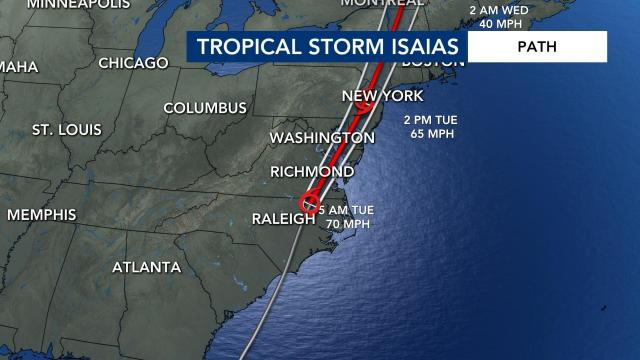 Tropical Storm Isaias track at 2 a.m. Aug. 4, 2020