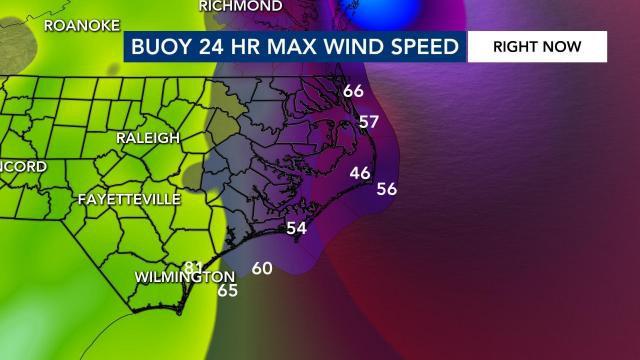 Wind speeds reported at buoys off NC coast