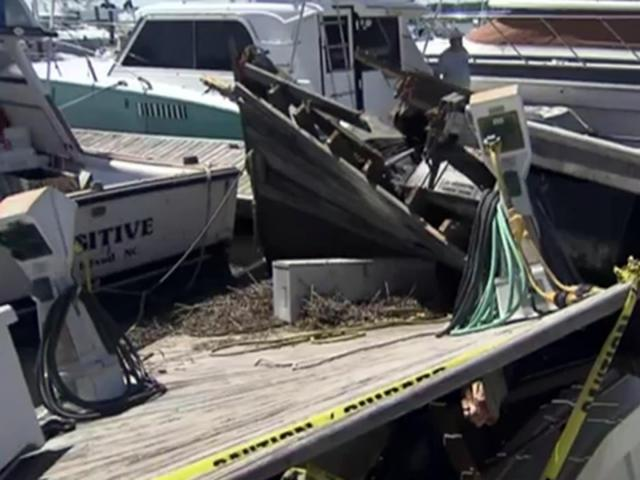 Isaias leaves 'giant pile of broken boats' at Southport marinas