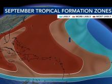 September tropical formation zones
