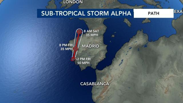 Subtropical Storm Alpha forms off the coast of Portugal