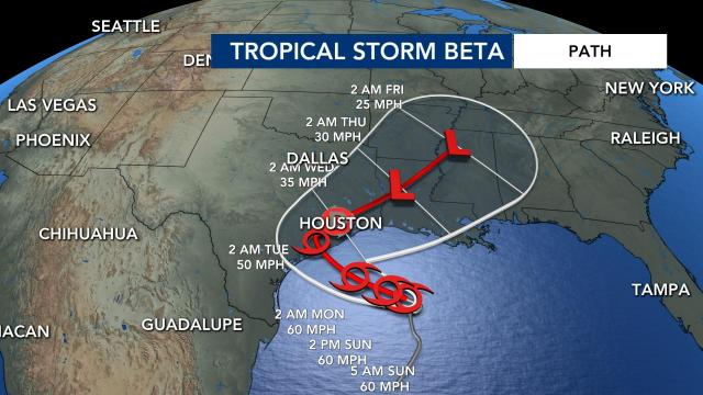 Tropical Storm Beta is moving slowly toward Texas and Louisiana. The storm will bring heavy rain and winds to the coast.
