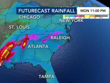Ranfall forecast from Hurricane Delta (Oct. 8, 2020)