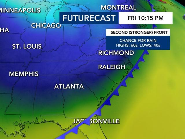 A cold-front will move into central NC on Friday.