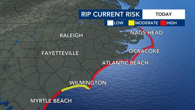 The north carolina coast is seeing a high rip current risk.