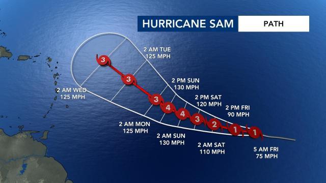 Hurricane Sam path