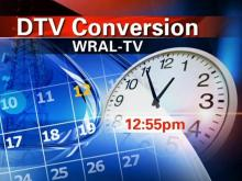 WRAL-TV will cease broadcasting in analog format at 12:55 p.m. on June 12.