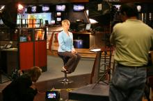Sloane Heffernan, WRAL's new weekend morning anchor, poses for the show's opening shots.