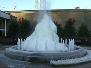 WRAL's frozen fountain