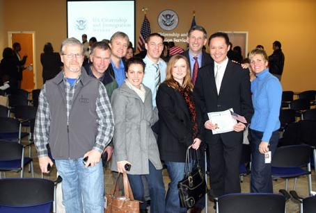 WRAL-TV friends surprise Zhong at his naturalization cermony:  (l to r) Bill Burch, Steve Loyd, Randy Mews, Stacie Holyfield, Jay Yovanovich, Debbie Tullos, Steve Hammel, Shan Zhong, Shelly Leslie.
