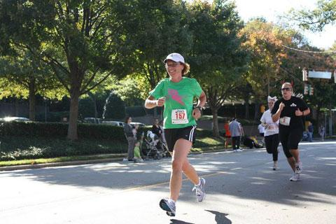 Lori Lair runs in Raleigh's Monster Dash on Oct. 31, 2010. (Photo courtesy of Jon Baker with The Athlete's Foot)