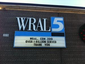 WRAL.com served up 1 billion page views (and counting) in 2010.