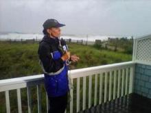 WRAL reporter Amanda Lamb covers Hurricane Irene in August 2011.