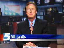 Bill Leslie tears down temporary WRAL set