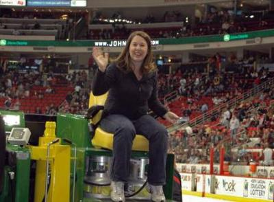 WRAL.com web editor Kelly Hinchcliffe rides an Olympia at the Hurricanes game on Saturday, Nov. 12, 2011.