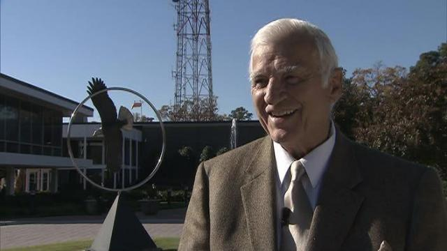 Former WRAL anchor Charlie Gaddy talks about the tower lighting in November 2011.