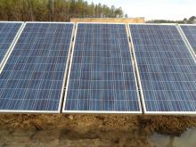 Photo showing spacing of solar panels on racking system