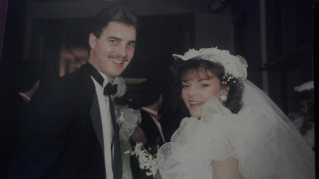 Monica Laliberte and her husband David on their wedding day