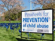 April is Childhood Abuse Awareness Month, and to show support, blue and silver pinwheels were placed on the lawn at the WRAL studios.