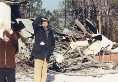 WRAL Transmitter Supervisor Ed Hubbard and Capitol Broadcasting Co. President Jim Goodmon survey the destruction after the WRAL tower fell on Dec. 10, 1989.