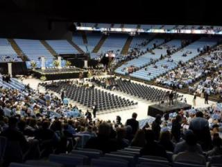 Seats begin filling up for the Dean Smith memorial on Feb. 22, 2015. (Photo by Debra Morgan/WRAL)