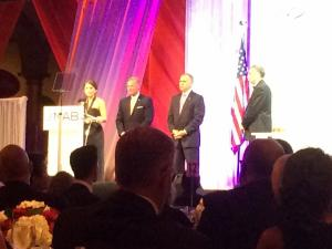 FOX 50 Account Executive Elizabeth Kline and WRAL-TV General Manager Steve Hammel accepted the National Association of Broadcasters' Service to Community Award in Washington D.C. on Tuesday for efforts to raise awareness about domestic violence. North Carolina Senators Richard Burr and Thom Tillis, also pictured, introduced Capitol Broadcasting Company.