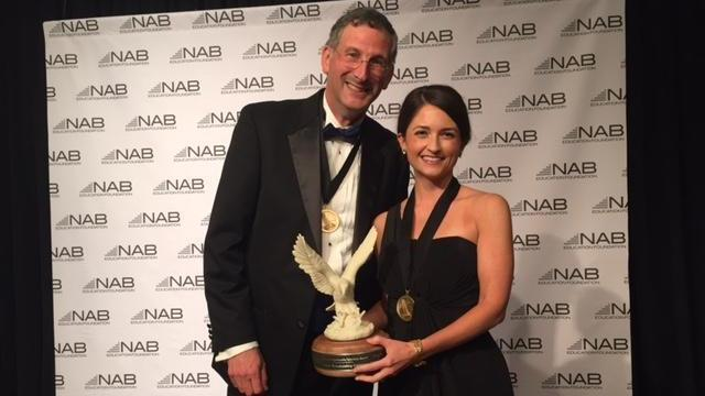 WRAL-TV General Manager Steve Hammel and FOX 50 Account Executive Elizabeth Kline accepted the National Association of Broadcasters' Service to Community Award in Washington D.C. on Tuesday for efforts to raise awareness about domestic violence.