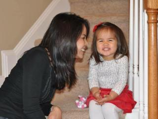 WRAL's Renee Chou and her daughter, Elsa.
