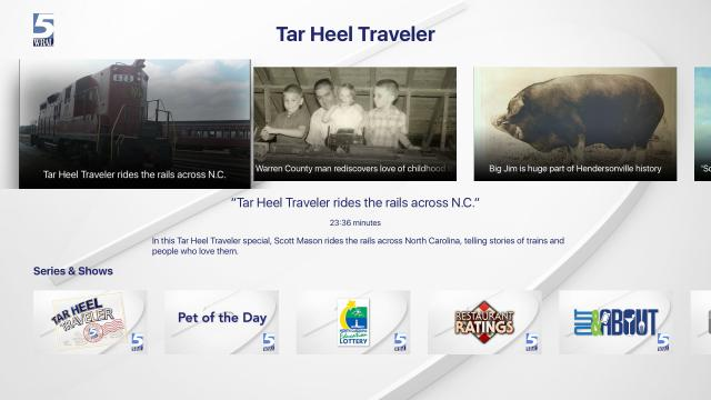 Watch the latest edition of Tar Heel Traveler on Apple TV.