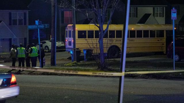 A school bus crashed Friday afternoon near the intersection of Cross Link Road and Herndon Village Way in Raleigh.