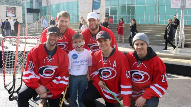 Chase's wish was granted to play street hockey with his favorite player, Jeff Skinner of the Carolina Hurricanes.