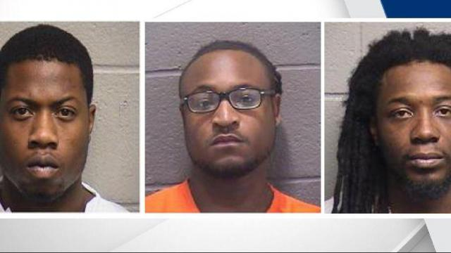 Three men were arrested Saturday after an armed robbery outside an apartment complex.