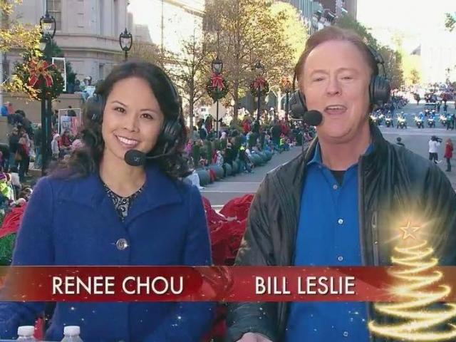 Renee Chou and Bill Leslie host the Raleigh Christmas Parade.