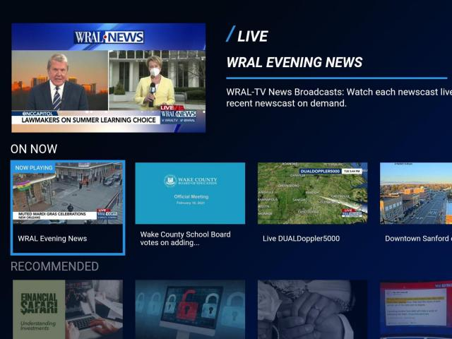WRAL's streaming apps for Roku, Amazon Fire TV, Apple TV and Android TV received an update with a cleaner and clearer user interface and an improved user experience. The update makes finding the live or latest on-demand newscast easier to find and watch, and dramatically simplifies the app's navigation to drive engagement with WRAL's rich news archive.