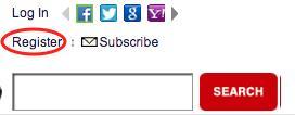 Screenshot of register link